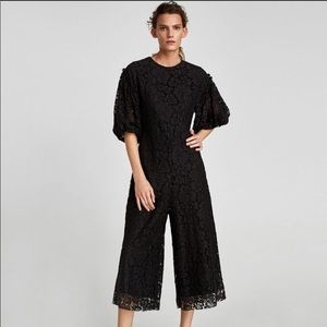 Zara black lace cropped jumpsuit with puff sleeves